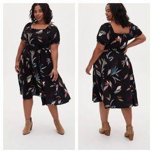 Black & Multi Leaf Challis Peasant Midi Dress